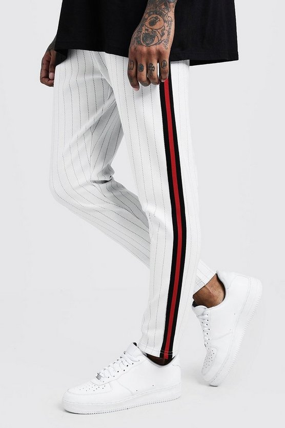 Mens White Pinstripe Smart Taped Cropped Jogger