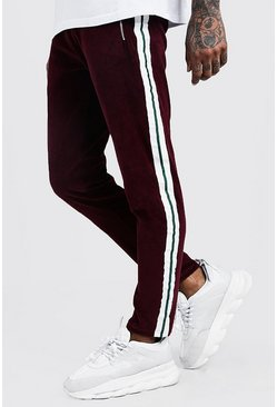Mens Wine Velour Taped MAN Skinny Fit Jogger