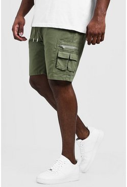 Mens Khaki Big & Tall Utility Shorts With Elasticated Waist Band