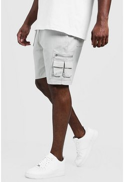 Mens Stone Big & Tall Utility Shorts With Elasticated Waist Band