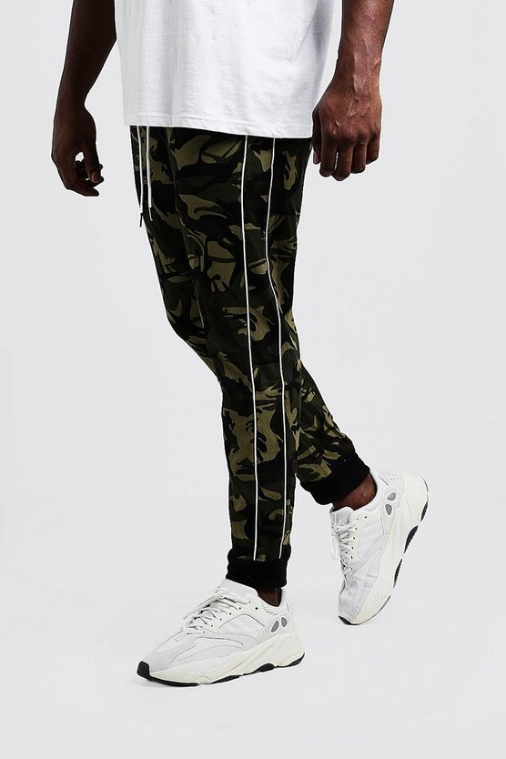 Mens Khaki Big & Tall Camo Pants With Piping