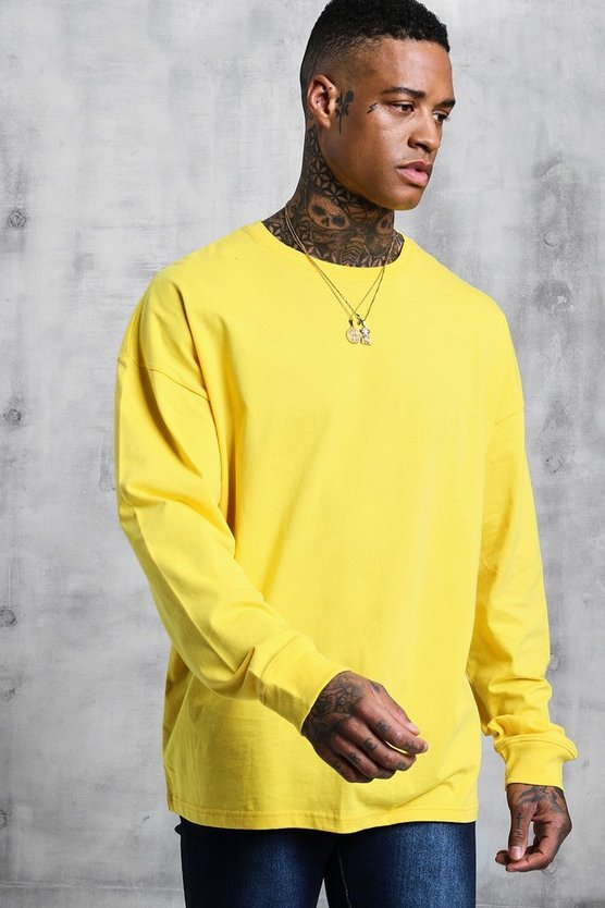 Mens Bright yellow Oversized Long Sleeve T-Shirt
