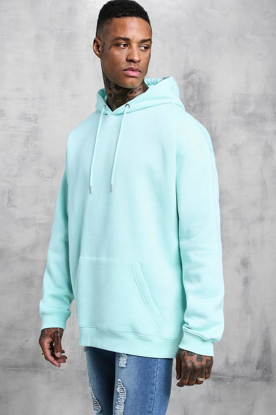 Aqua Fleece Oversized Over The Head Hoodie