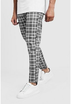 Mens Grey Check Smart Jogger Pants