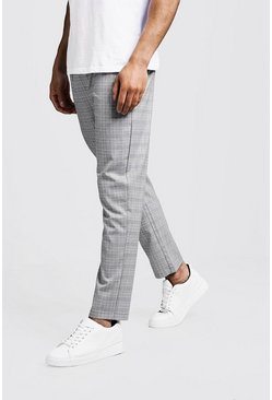 Mens Grey Prince Of Wales Check Smart Jogger Pants