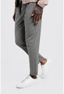 Womens Grey Mini Check Smart Jogger Pants