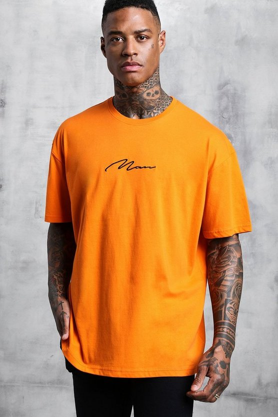 Mens Orange Oversized Man Signature Embroidered T-Shirt
