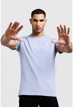 Mens Light grey Man Signature Embroidered T-Shirt