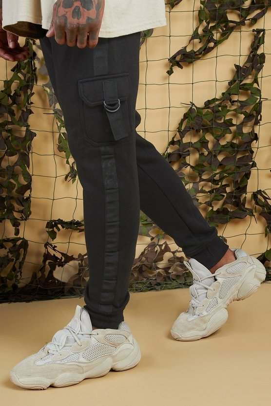 Black Jersey Cargo Jogger With Side Tape