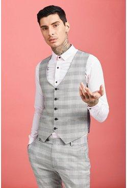 Grey Skinny Prince of Wales Check Waistcoat
