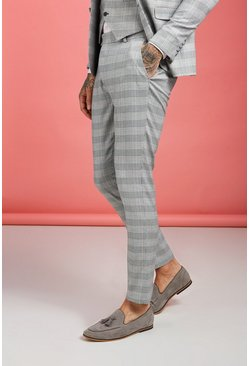 Grey Prince of Wales Check Skinny Fit Trouser