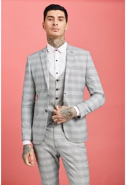 Grey Prince of Wales Check Skinny Fit Suit Jacket