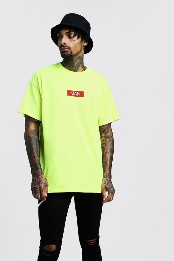 Mens Neon Neon Oversized Red Box T-Shirt