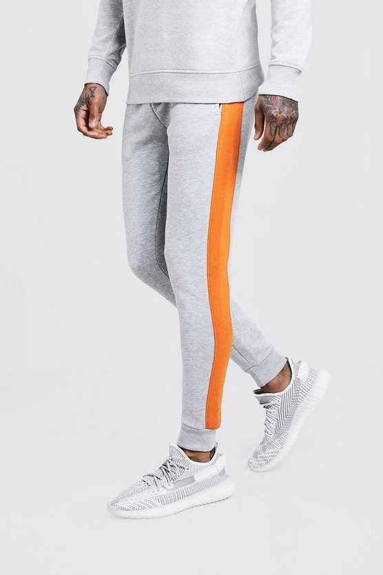 Grey Skinny Fit Panelled Fleece Jogger