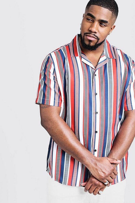 Red Big & Tall Multi Stripe Revere Collar Shirt