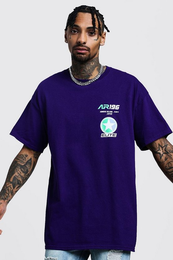 Mens Purple Oversized Race Design Graphic T-Shirt