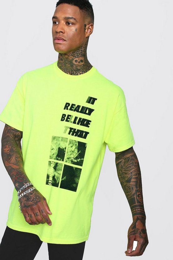 Neon-yellow Oversized Neon Gradient Design T-Shirt