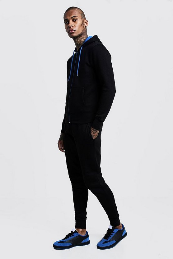 Black Zip Hooded Tracksuit With Blue Contrast Zip