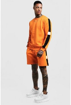 Mens Orange Sweater Short Tracksuit With Side Panels