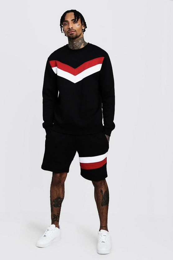 Black Chevron Panel Sweater Short Tracksuit