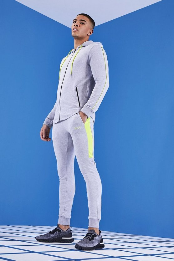 MAN Gym Muscle Fit Tracksuit With 1/4 Zip