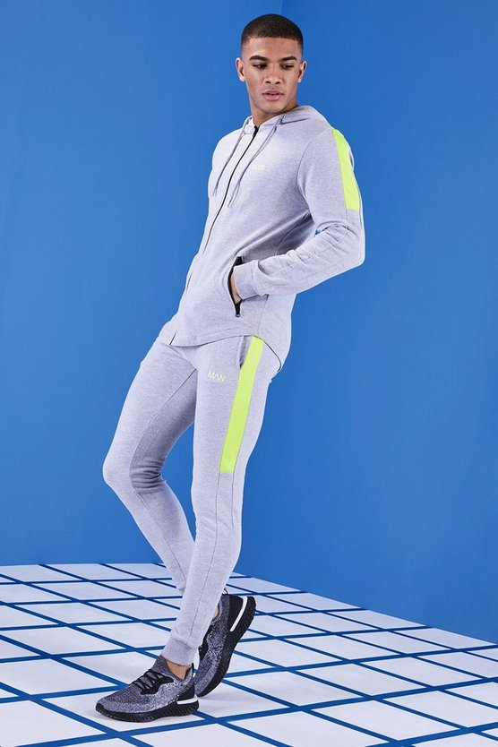 Mens Grey MAN Gym Muscle Fit Tracksuit With Zip Hood