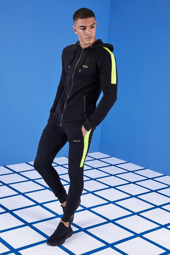 MAN Gym Muscle Fit Tracksuit With Zip Hood