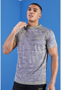 Mens Grey MAN Muscle Fit Gym T-Shirt