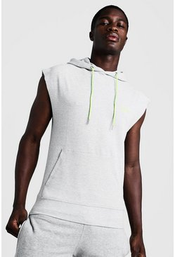 Sweat de gym à capuche sans manches MAN, Gris, Homme