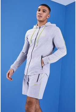 Mens Grey MAN Gym Hoodie With Zip Through Hood
