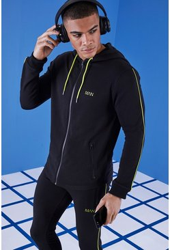 Mens Black MAN Gym Hoodie With Zip Through Hood