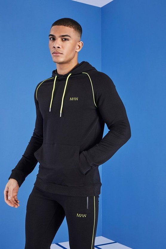 Mens Black MAN Gym Hoodie With Overhead Hood