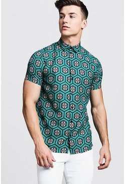 Mens Green Tile Print Short Sleeve Shirt