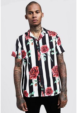 Mens Black Floral Stripe Short Sleeve Revere Shirt