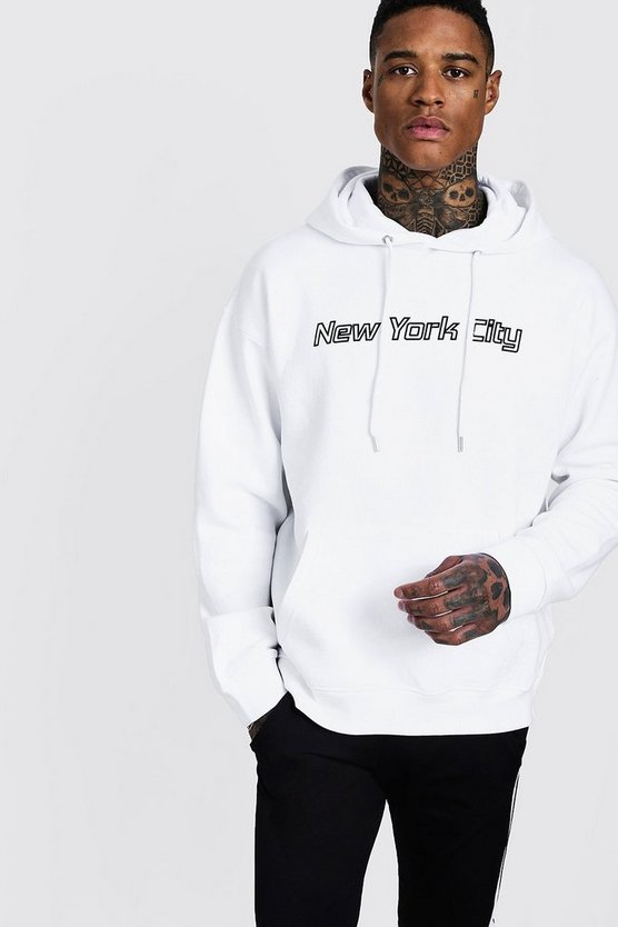 White New York City Slogan Oversized Hoodie