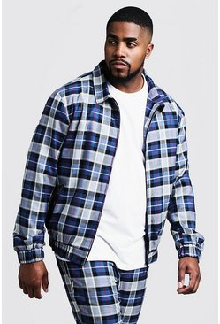Mens Blue Big & Tall Tartan Check Smart Coach Jacket