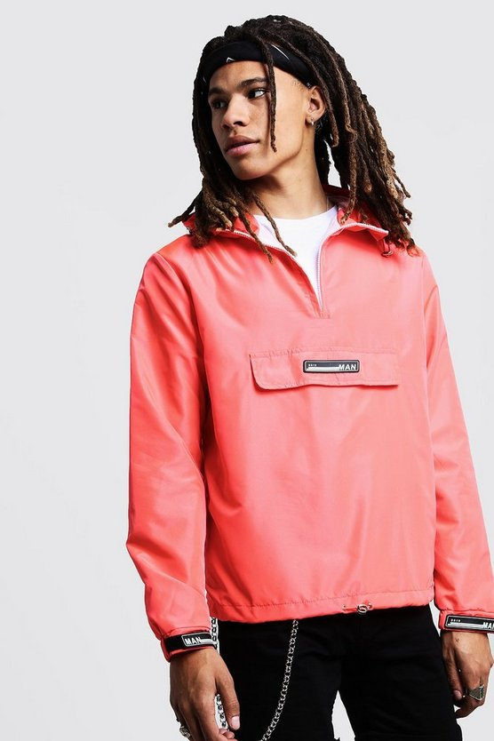 Mens Coral Hooded Cagoule With Rubber Branding