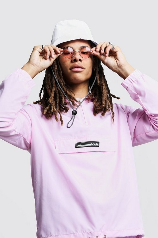 Mens Pastel pink Hooded Cagoule With Rubber Branding