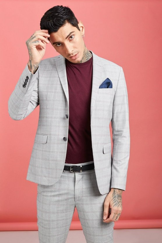 Jaspe Prince Of Wales Skinny Fit Jacket