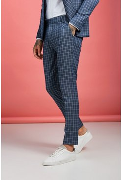 Mens Navy Windowpane Check Skinny Fit Pants