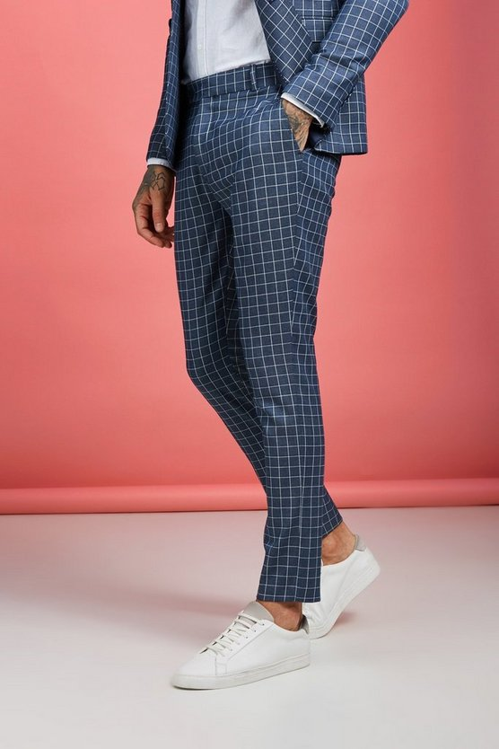 Mens Navy Windowpane Check Skinny Fit Trouser