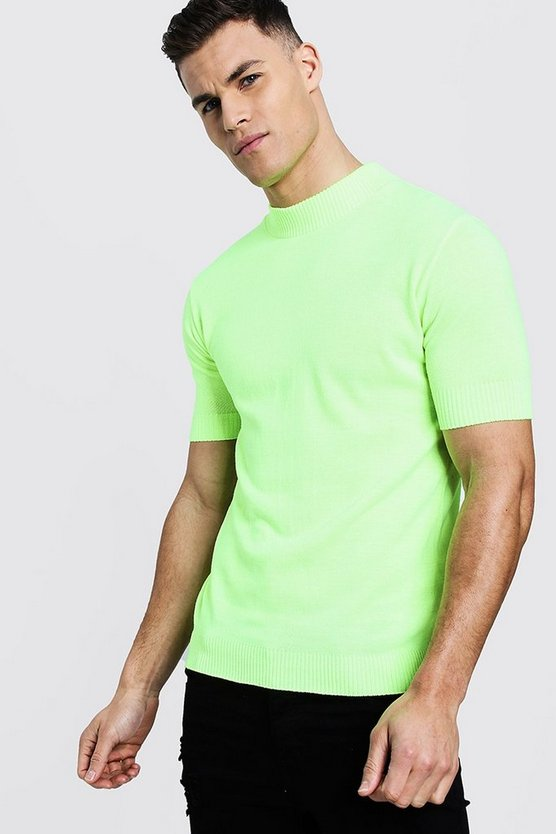 Neon Short Sleeve Turtle Neck Knitted T-Shirt