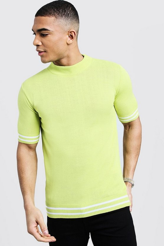 Mens Lime Turtle Neck Stripe Detail Knitted Tee