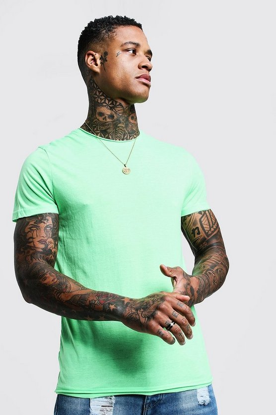 Green Crew Neck Raw Edge T-Shirt