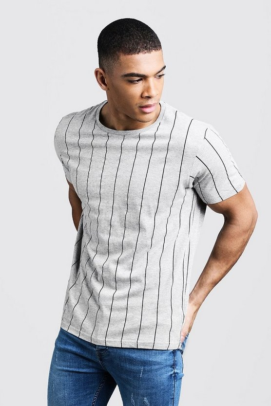Grey Stripe Crew Neck T-Shirt