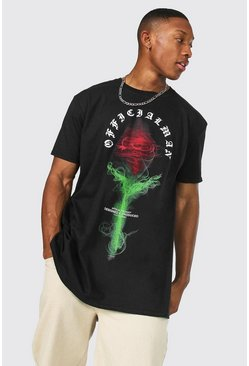 Black Oversized Official Man Rose Graphic T-Shirt