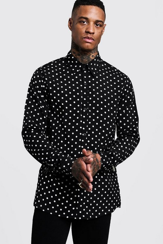 Polka Dot Long Sleeve Oversized Shirt