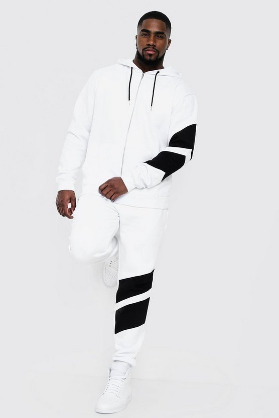 White Big & Tall Tracksuit With Contrast Panels