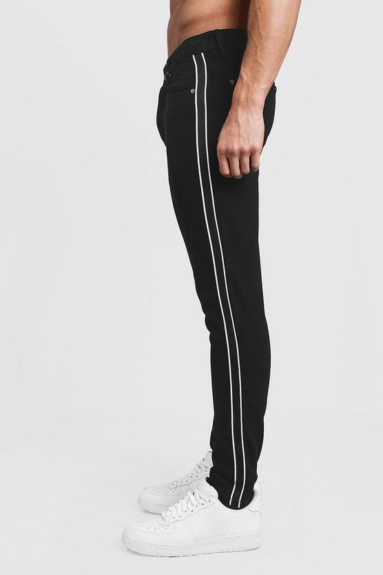 Black Skinny Fit Rigid Jeans With Side Tape