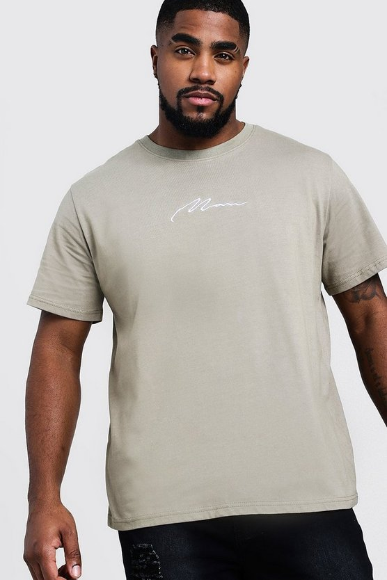 Sage silver Big & Tall Man Embroidered T-Shirt